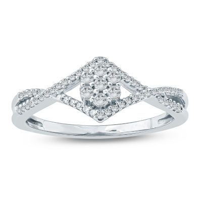 Promise My Love Womens 1/4 CT. T.W. Round White Diamond 10K Gold Promise Ring