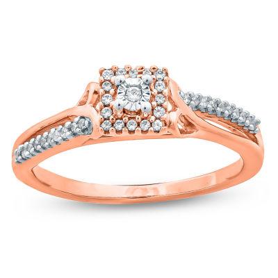 Womens 1/10 CT. T.W. Genuine Round White Diamond 10K Gold Promise Ring