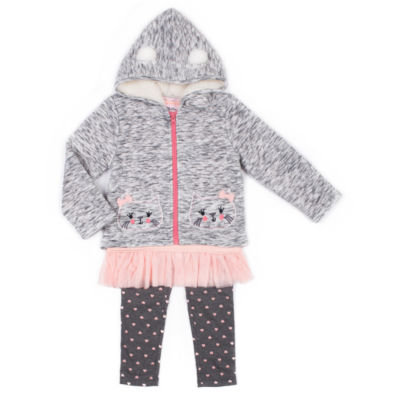 Little Lass Gray Quilted Kitty Jacket 3-pc. Legging Set- Preschool Girls