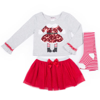 Little Lass Santa Tutu 3-pc. Skirt Set with Socks- Preschool Girls