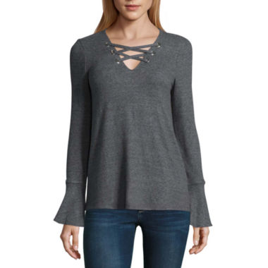 by&by Long Sleeve V Neck Pullover Sweater-Juniors