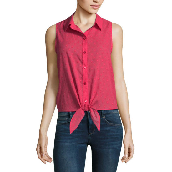 by&by Modern Fit Sleeveless Button-Front Shirt-Juniors