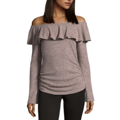 by&by Long Sleeve U Neck Pullover Sweater-Juniors