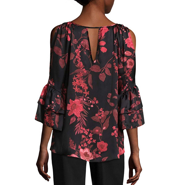 by&by 3/4 Sleeve Boat Neck Satin Embellished Ruffled Blouse-Juniors