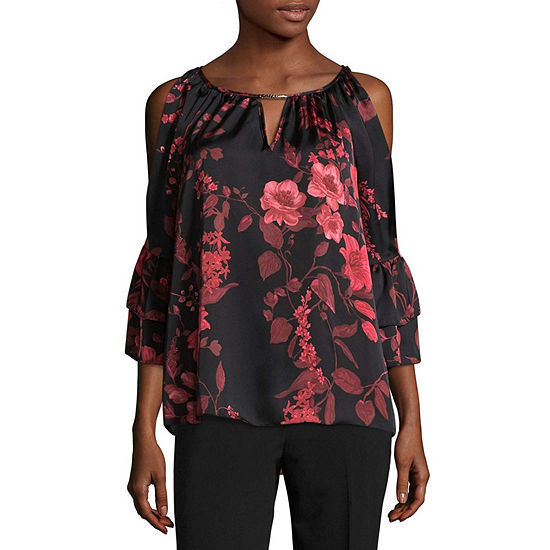 by&by Womens Boat Neck 3/4 Sleeve Satin Embellished Ruffled Blouse-Juniors