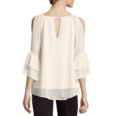 by&by 3/4 Sleeve Boat Neck Chiffon Embellished Ruffled Blouse-Juniors