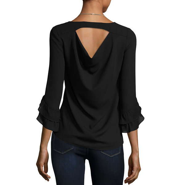 by&by Long Sleeve Scoop Neck Crepe Embellished Ruffled Blouse-Juniors