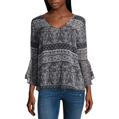 by&by Womens V Neck Long Sleeve Embellished Blouse-Juniors