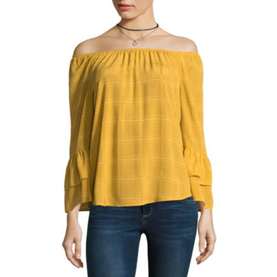 by&by 3/4 Sleeve Boat Neck Chiffon Blouse-Juniors