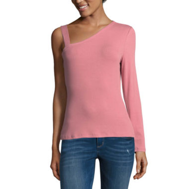 Arizona One Shoulder Long Sleeve Top- Juniors