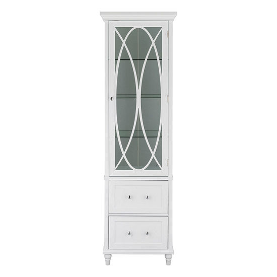 """60"""" H Cassini Linen Tower with 3 adjustable tempered glass shelves and two drawers"""