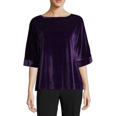 Liz Claiborne Elbow Sleeve Velvet Kimono Top