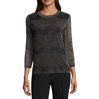 Liz Claiborne 3/4 Sleeve Crew Neck Metallic Pullover Sweater