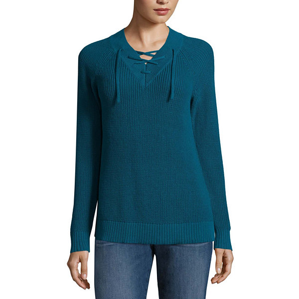 St. John's Bay Long Sleeve Lace Up Sweater