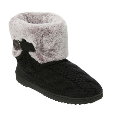 Dearfoams Cable Knit Bootie Slippers
