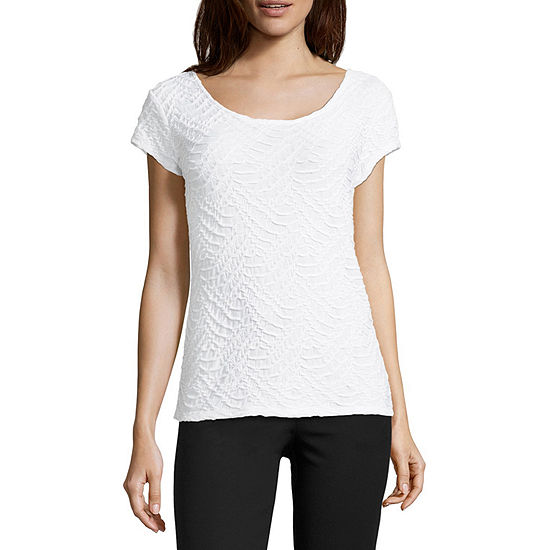 Liz Claiborne Short Sleeve Textured Knit Top Tall