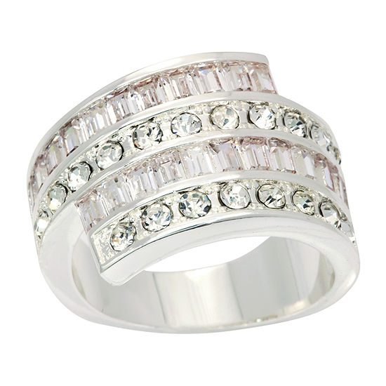 Sparkle Allure Womens Pure Silver Over Brass Cocktail Ring