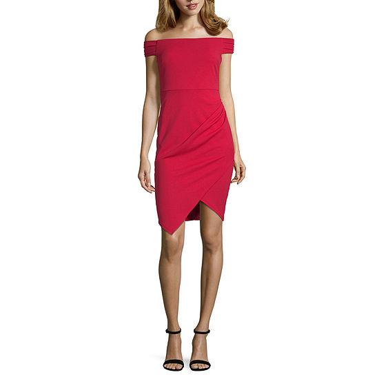 Speechless-Juniors Short Sleeve Midi Bodycon Dress