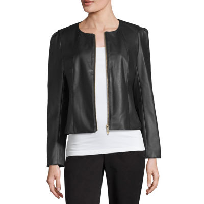 Liz Claiborne Faux-Leather Cropped Jacket - Tall