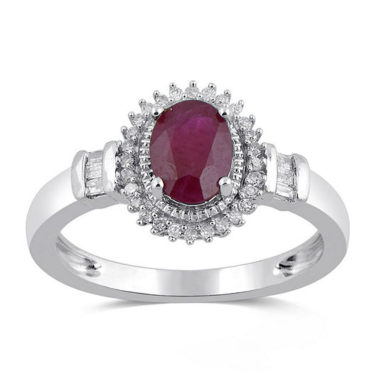 Womens Lead Glass Filled Red Ruby 10k White Gold Cocktail Ring
