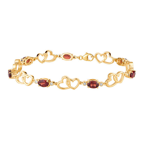 1/7 CT. T.W. Genuine Red Garnet 10K Gold 7.5 Inch Tennis Bracelet