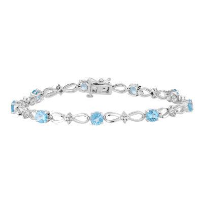 1/3 CT. T.W. Genuine Blue Topaz 10K White Gold 7.5 Inch Tennis Bracelet