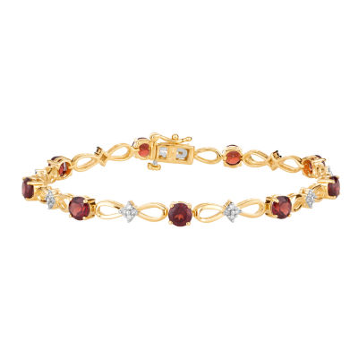 1/3 CT. T.W. Genuine Red Garnet 10K Gold 7.5 Inch Tennis Bracelet