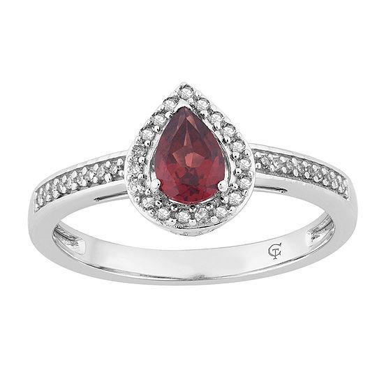 Womens 1/7 CT. T.W. Genuine Red Garnet 10K White Gold Cocktail Ring