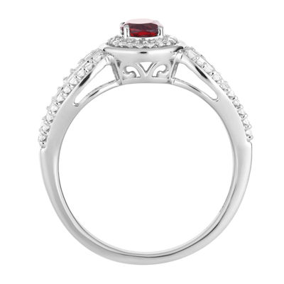 Womens 1/3 CT. T.W. Genuine Red Garnet 10K White Gold Cocktail Ring