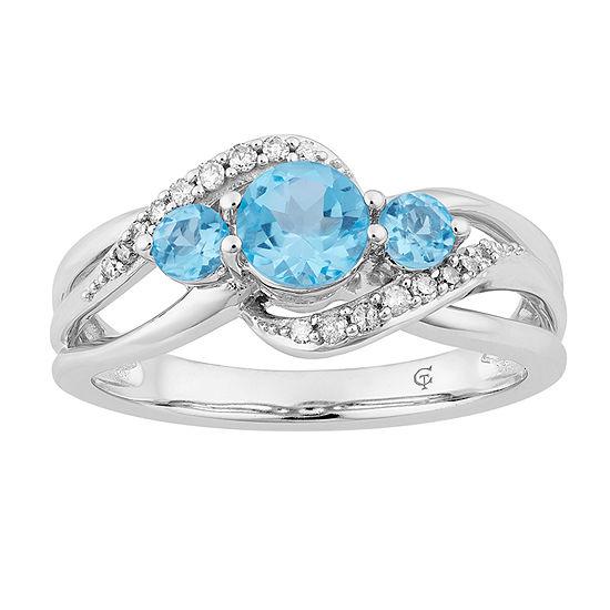Womens 1/5 CT. T.W. Genuine Blue Topaz 10K White Gold Cocktail Ring