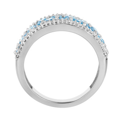 Womens 1/4 CT. T.W. Genuine Blue Topaz 10K White Gold Cocktail Ring