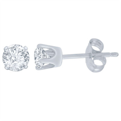 1/4 CT. T.W. Genuine White Diamond 14K White Gold 4.1mm Stud Earrings