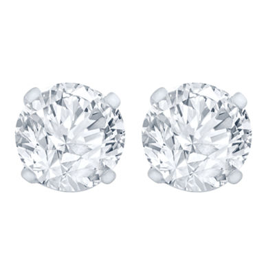 1 CT. T.W. Genuine White Diamond 14K White Gold 6.5mm Stud Earrings