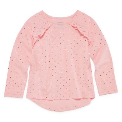 Okie Dokie Long Sleeve Graphic T-Shirt-Toddler Girls