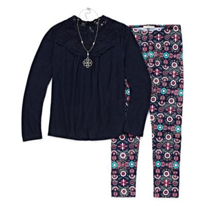 Self Esteem Long Sleeve Lace Top Print Legging Set w/ Necklace - Girls' 4-16 & Plus