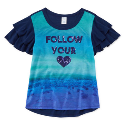 Arizona Ruffle Sleeve Sequin Top - Girls' 4-16 & Plus