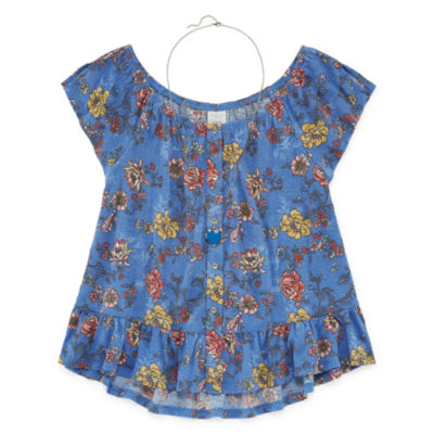 Arizona Short Sleeve Gauze Top w/ Necklace - Girls' 4-16 & Plus