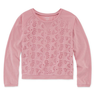 Arizona Long Sleeve Eyelet Sweatshirt - Girls' 4-16 & Plus