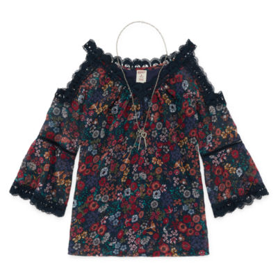 Arizona Lace Trim Print Top with Necklace - Girls' 4-16 & Plus