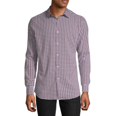 Axist Mens Long Sleeve Checked Button-Front Shirt