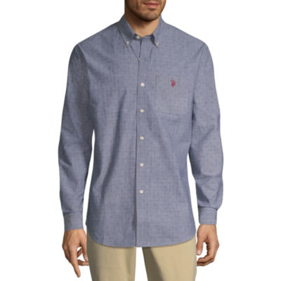 U.S. Polo Assn. Long Sleeve Dots Button-Front Shirt