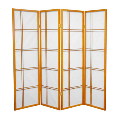 Oriental Furniture 5' Double Cross Shoji 4 Panel Room Divider