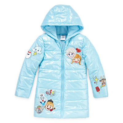 Disney Girls Frozen Hooded Water Resistant Midweight Quilted Jacket