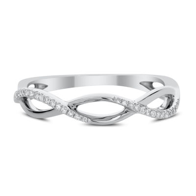 Womens 1/10 CT. T.W. White Diamond 14K White Gold Band