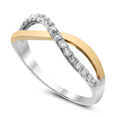 Womens 1/4 CT. T.W. White Diamond 14K Two Tone Gold Band