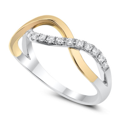 Womens 2mm 1/4 CT. T.W. White Diamond 14K Two Tone Gold Band