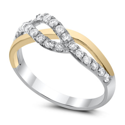 Womens 2.5mm 3/8 CT. T.W. White Diamond 14K Two Tone Gold Band