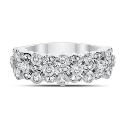 Womens 2mm 1/4 CT. T.W. White Diamond 14K White Gold Band