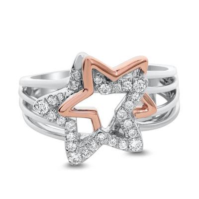 Womens 2mm 1/4 CT. T.W. White Diamond 14K Rose Gold Band
