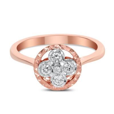 Womens 1/4 CT. T.W. White Diamond 14K Rose Gold Cluster Ring